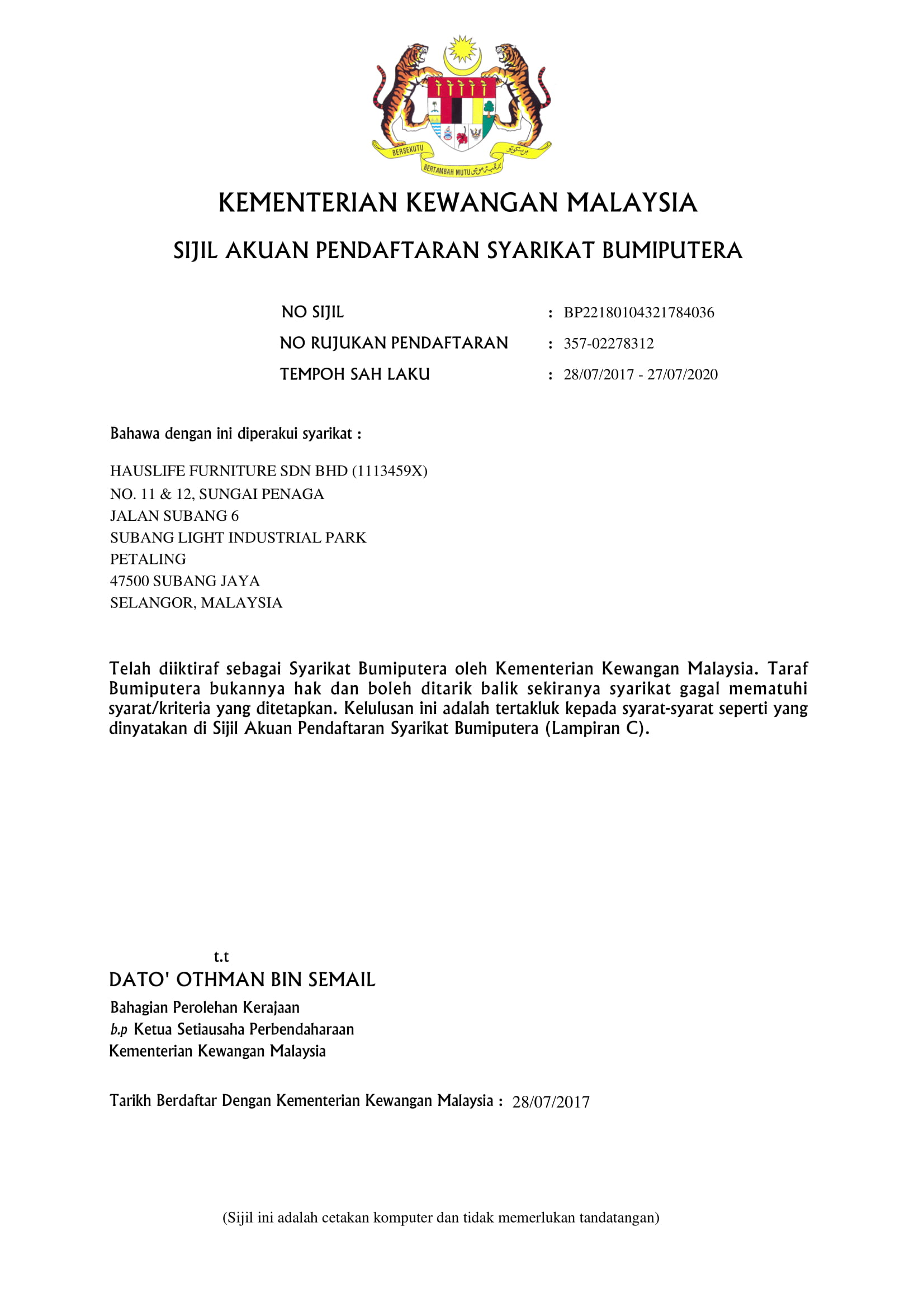 Supplier Bumiputera Certificate