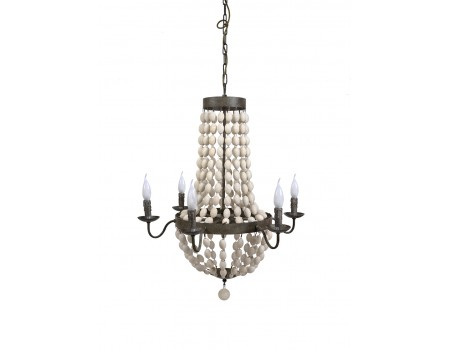 Distressed White Wood Beads Chandelier