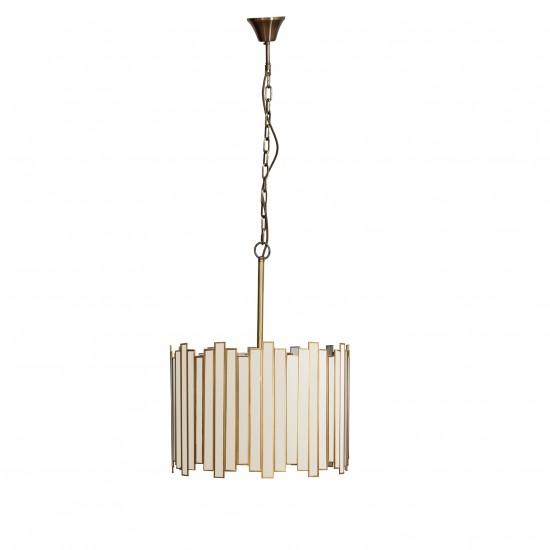 Brass, Acrylic & Metal Mirrored Pendant Lamp